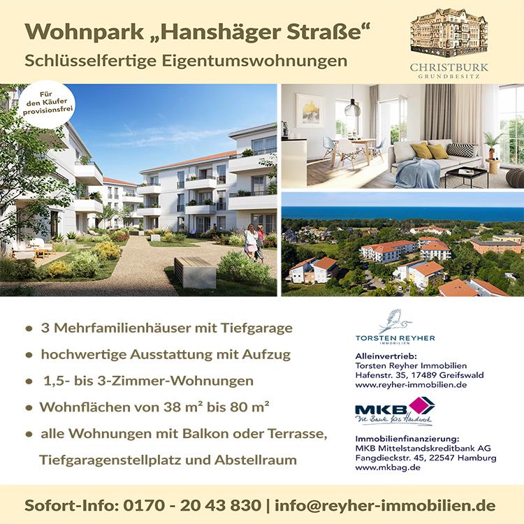 Wohnpark Hanshäger Straße, Schlüssenfertige Eigentumswohnungen auf zingst